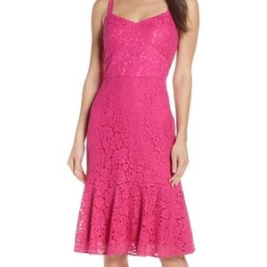 CHELSEA 28 PINK LACE FIT AND FLARE DRESS